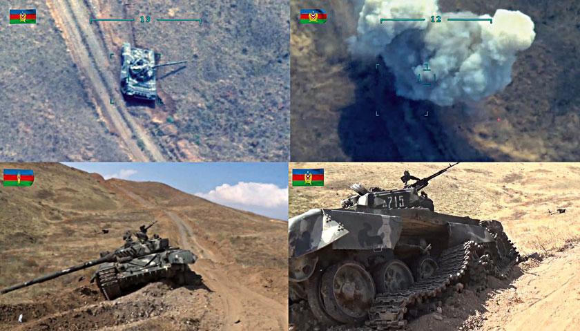 Sekwencja trafienia ormiańskiego czołgu T-72A (wcześniej unieruchomionego na skutek zerwania gąsienicy) bombą kierowaną MAM-L zrzuconą z bezzałogowca Bayraktar TB2.