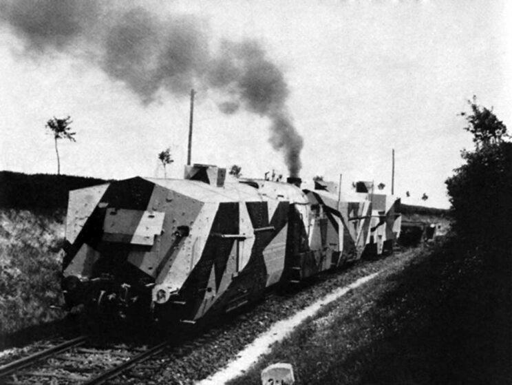 Jeden z czeskich pociągów pancernych w okolicach Milovic.