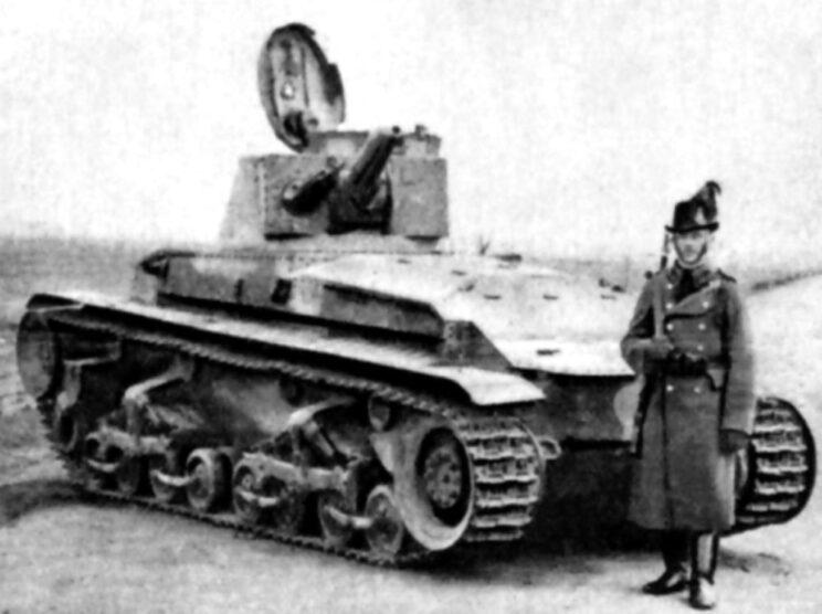 Węgierski żandarm przy zniszczonym czechosłowackim czołgu LT-35; 1939 r.
