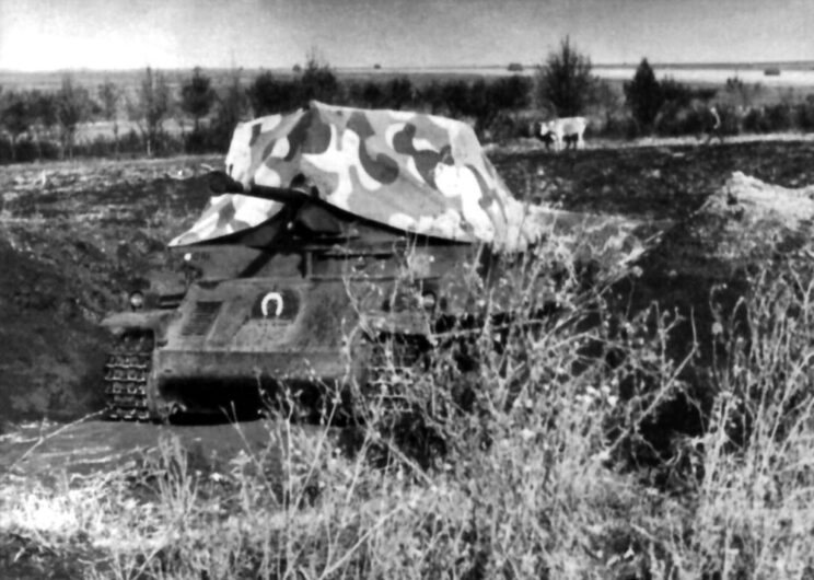 Zamaskowane działo samobieżne Nimrod z 51. batalionu niszczycieli czołgów, 1942 r.