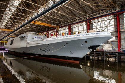 Wodowanie fregaty Lorraine. Fot. Naval Group
