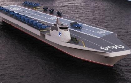 Wizualizacja uniwerslanego okrętu morskiego Waran. Fot. NPKB via TASS