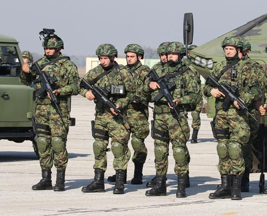 Żołnierze z 6,5 mm karabinkami automatycznymi M17 podczas pokazu jesienią 2017 r. Egzemplarze na zdjęciu mają kolby znane z karabinków typu AR-15.