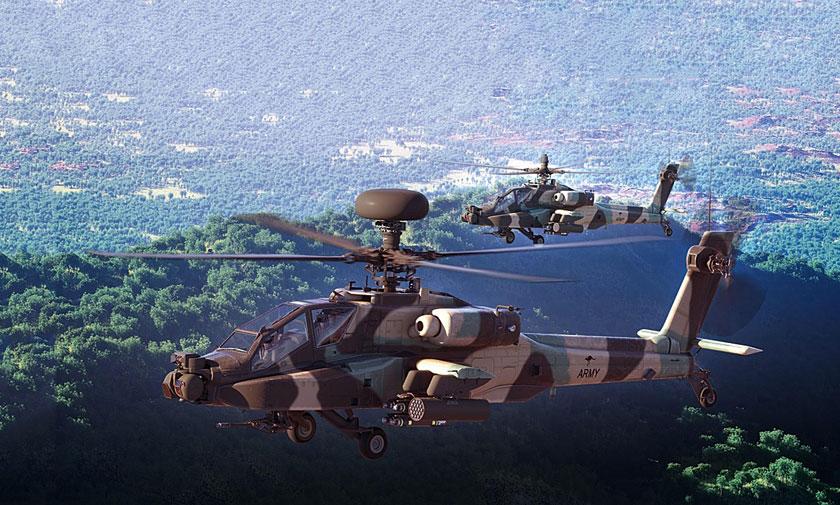 Wizja artystyczna śmigłowców Boeing AH-64E Apache Guardian wbarwach Australian Army Aviation.