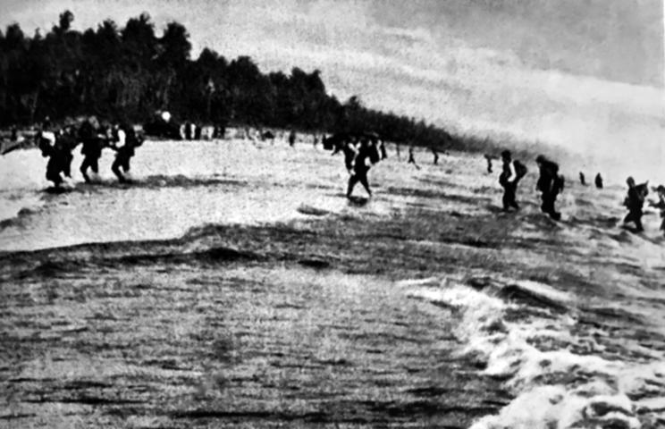 Lądowanie japońskich oddziałów na plaży wprowincji Songkhla.