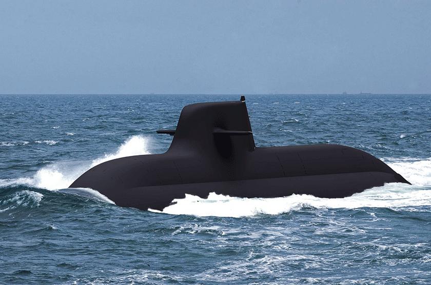 Wizja artystyczna okrętu podwodnego typu U212NFS.