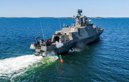 Testowe strzelanie torpedy Tp45 z okrętu rakietowego Tornio w sierpniu 2020 r. Fot. Merivoimat