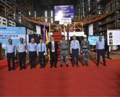 Uroczystość położenie stępki drugiej fregaty projektu 1135.6 dla Indii. Fot. GSL