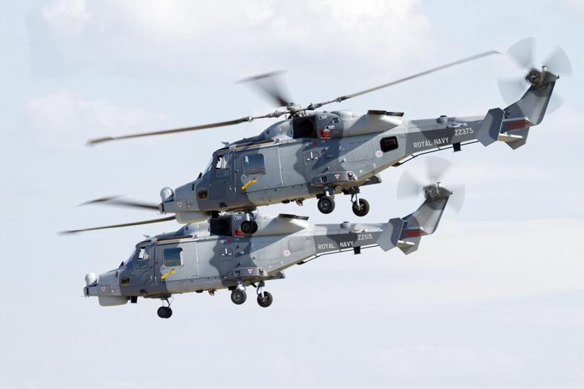 """Zespół Royal Navy """"Black Cats"""" występuje obecnie w składzie dwóch Wildcatów HMA.2, prezentując na pokazach własności śmigłowców tego typu."""