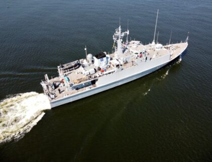 Estoński niszczyciel min Ugandi, to dawny brytyjski Bridport typu Sandown. Niedługo Ukraina dołączy do użytkowników tych jednostek. Fot. Tomasz Grotnik
