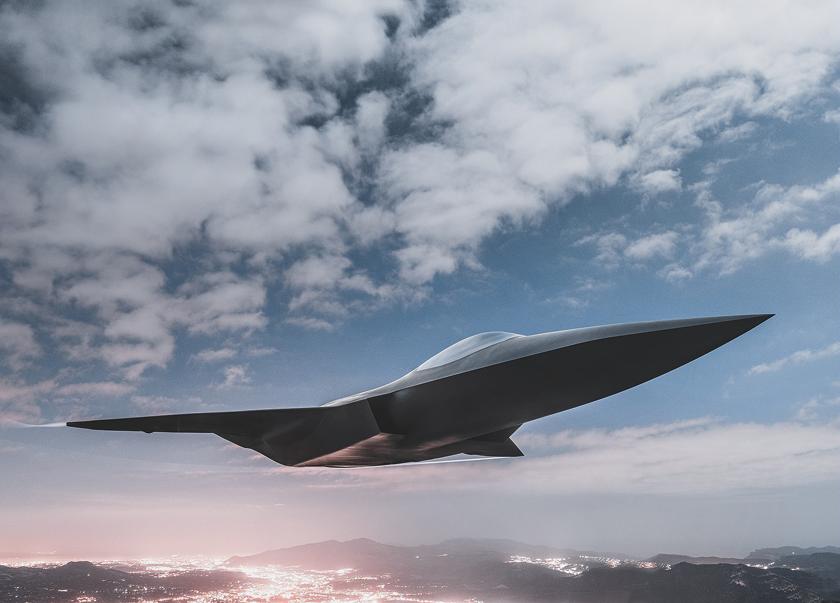 Wizja artystyczna samolotu NGF/ANGE (Next Generation Fighter/Avion de Nouvelle Génération), głównego elementu systemu SCAF (Système de combat aérien futur).