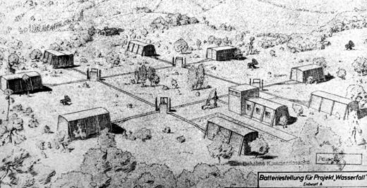 Wizja stanowiska startowego typu I przeznaczonego dla pocisków Wasserfall. Jak widać, miały być one przechowywane w drewnianych budynkach, zktórych transportowano je na stoły startowe.