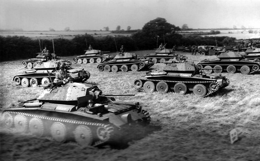 Ćwiczenia polskiej 10. Brygady Kawalerii Pancernej w Wielkiej Brytanii. Także i nasi żołnierze używali czołgów Covenanter do szkolenia.