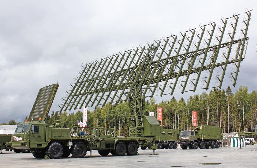 System radiolokacyjny Niebo-M. Na pierwszym planie stacja zakresu metrowego, w głębi – antena stacji zakresu decymetrowego.