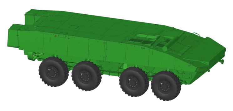 Wizja podwozia kołowego transportera opancerzonego Rosomak-L wwidoku ogólnym zboku. Zwracają uwagę nowy, całkowicie automatycznie rozkładany, jednoczęściowy falochron, atakże zmodyfikowana konstrukcja włazu kierowcy.